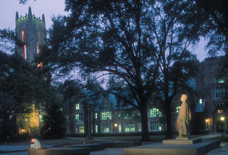 Rhodes College at night.